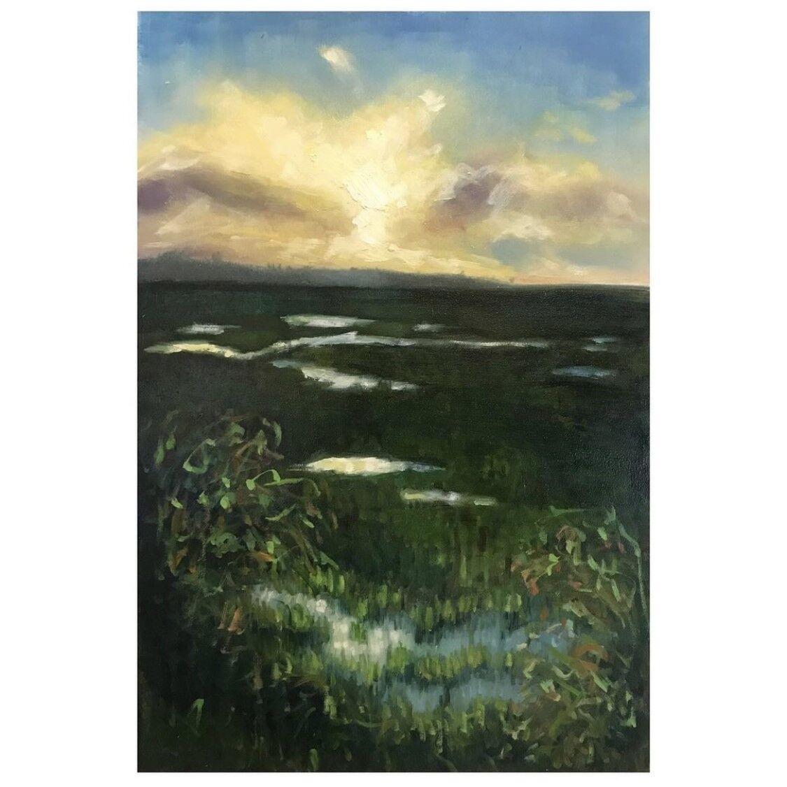 expressive oil painting of Holkham marsh