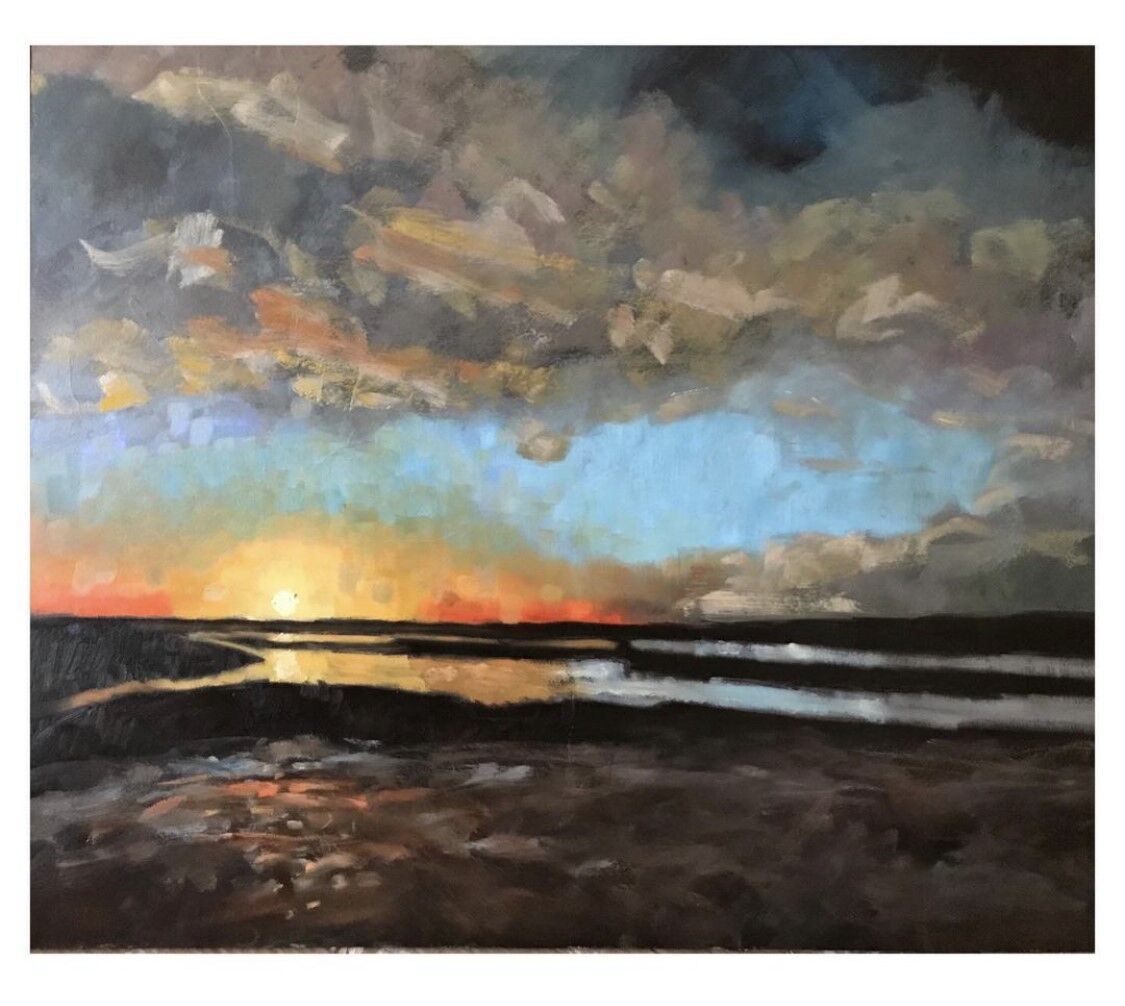 expressive oil painting of sunset on Brancaster Staithe Harbour