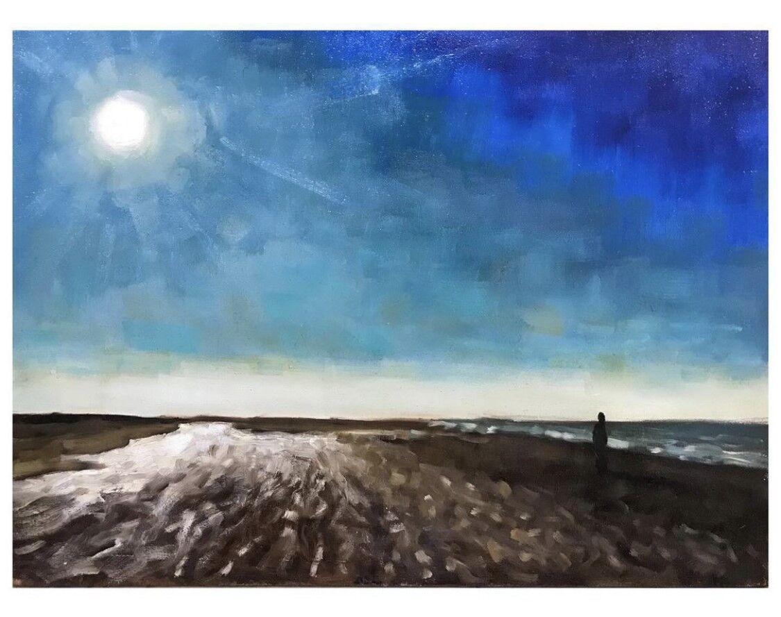 impressionist oil painting of sea
