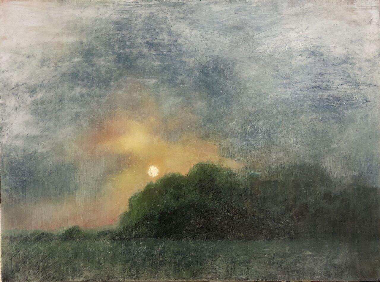 expressive oil painting of field shrouded in mist