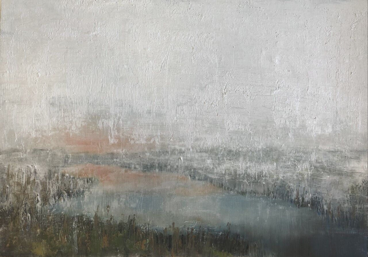 expressive oil painting of mist over a marsh