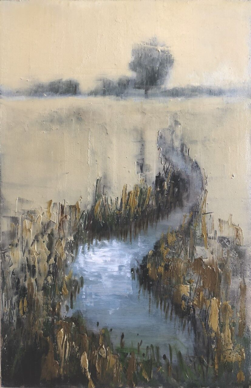 expressive oil painting of mist over the River Nar