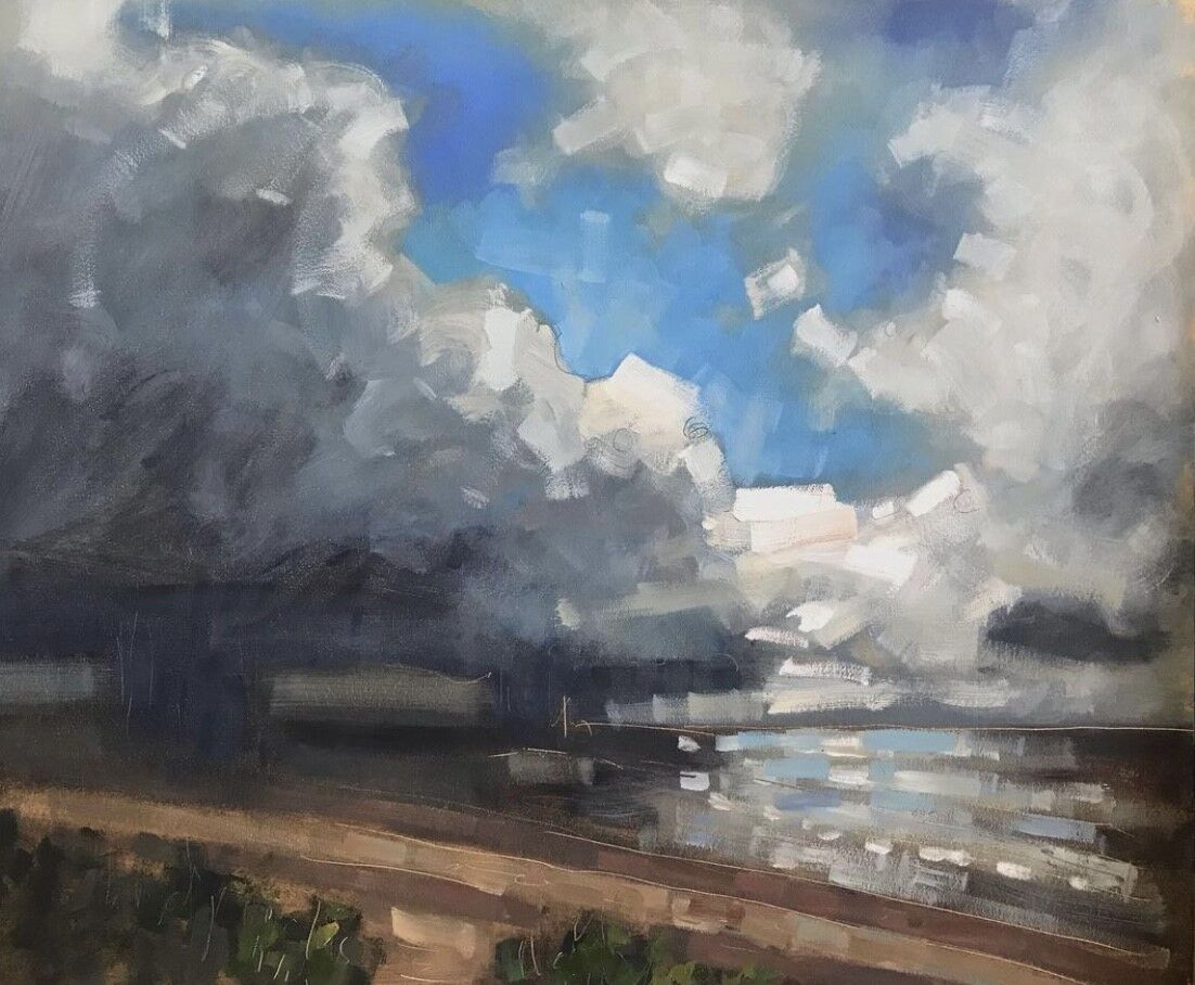 expressive oil painting of sea and sky