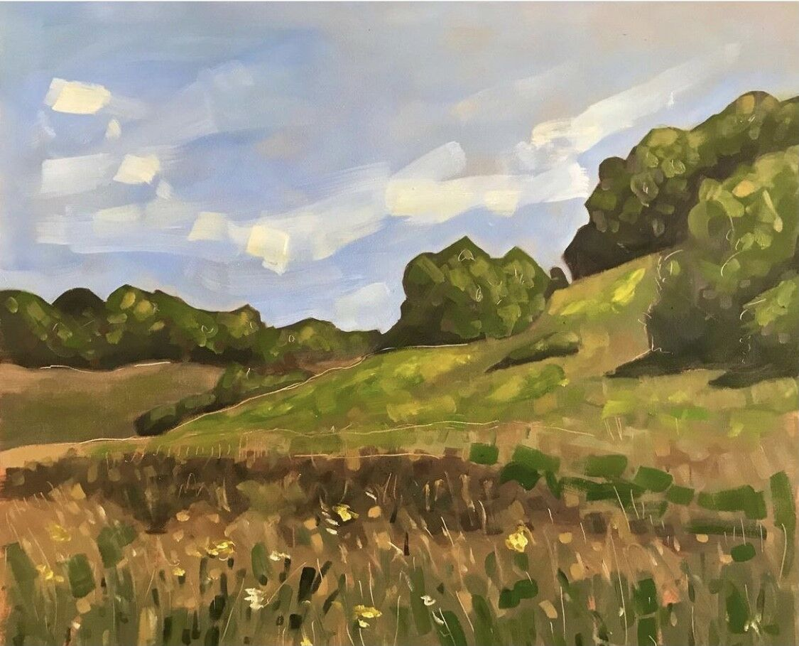 expressive oil painting of field