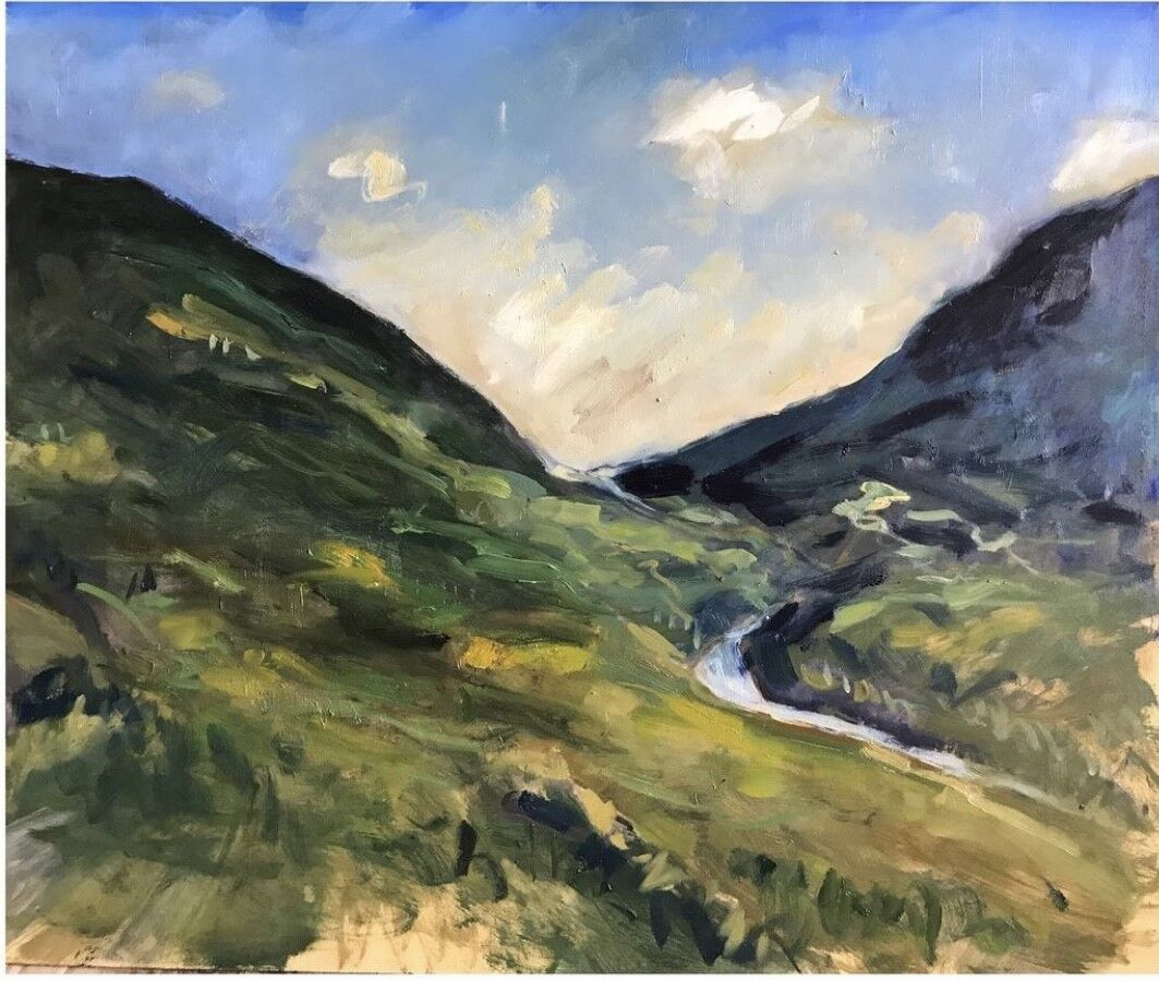 expressive oil painting of hills