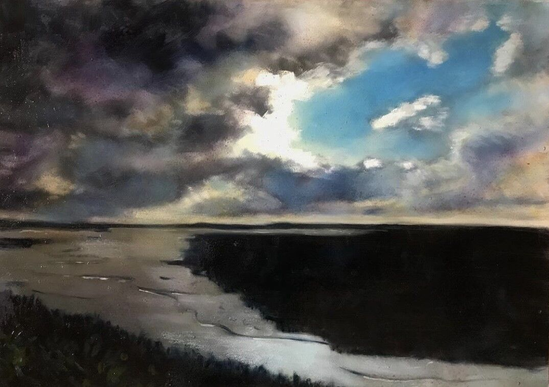 expressive oil painting of marsh