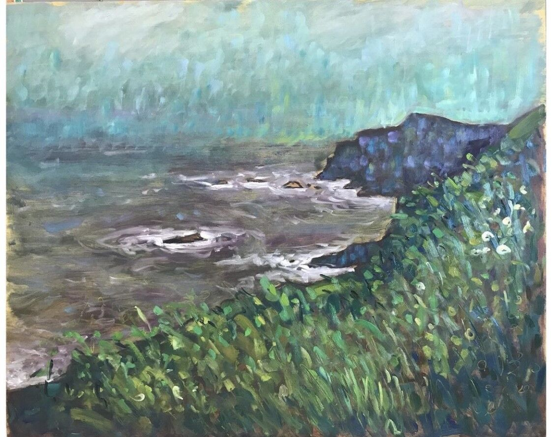 impressionist oil painting of cliffs and sea