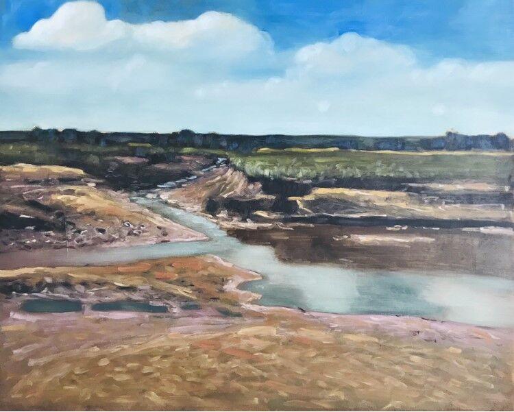 impressionist oil painting of marsh