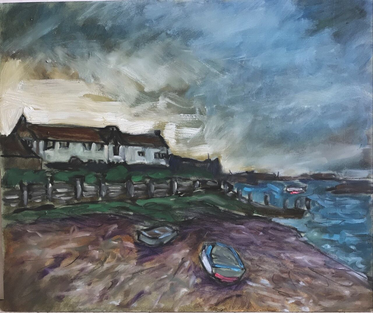 expressive oil painting of harbour
