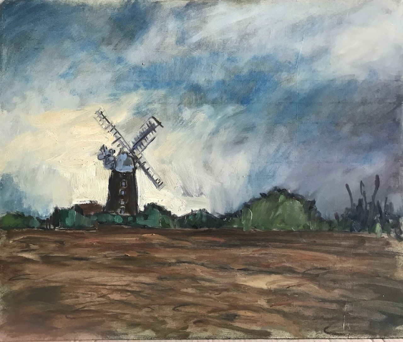 expressive oil painting of field and windmill