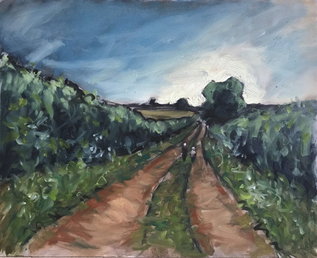 expressive oil painting of field track