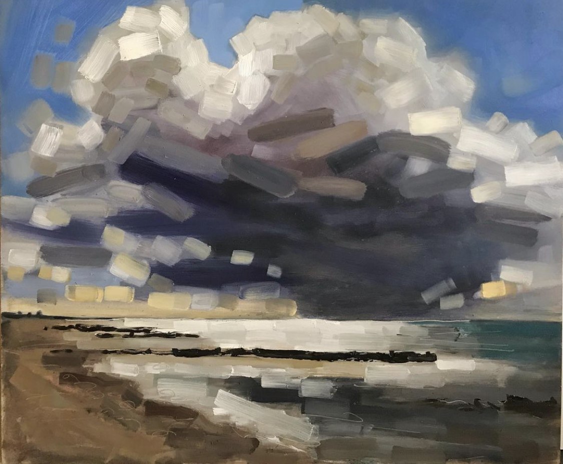 expressive oil painting of cloud over sea