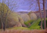"""Iford Valley, Winter Afternoon. Oil on canvas. 22""""x16""""."""