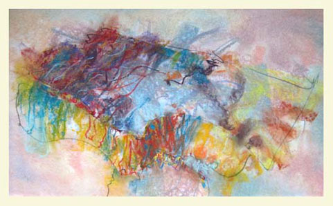 HOODOO 12 double-layered drawing - pastel+graphite on tissue paper over card