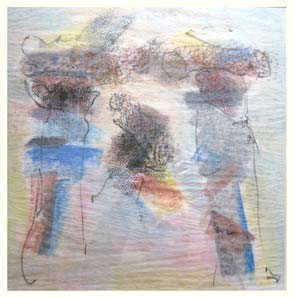 HOODOO 4 double-layered drawing - pastel+graphite on tissue paper over card