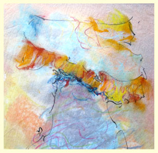 HOODOO 6 double-layered drawing - pastel+graphite on tissue paper over card