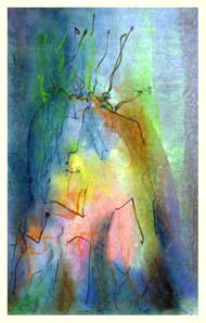 MOTHER TREE 8  double-layered drawing - pastel+graphite on tissue paper over card
