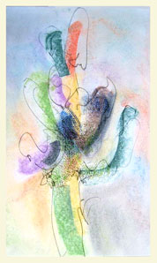 SAGUARO 1 double layered drawing - pastel+graphite on tissue paper over card