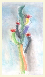 SAGUARO 3 double layered drawing - pastel+graphite on tissue paper over card