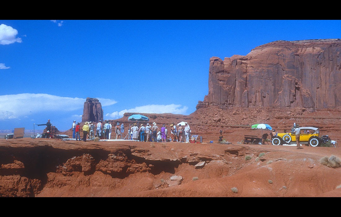 Filming 'Churchill - The Wilderness Years', (UK TV series), Monument Valley, USA 1981