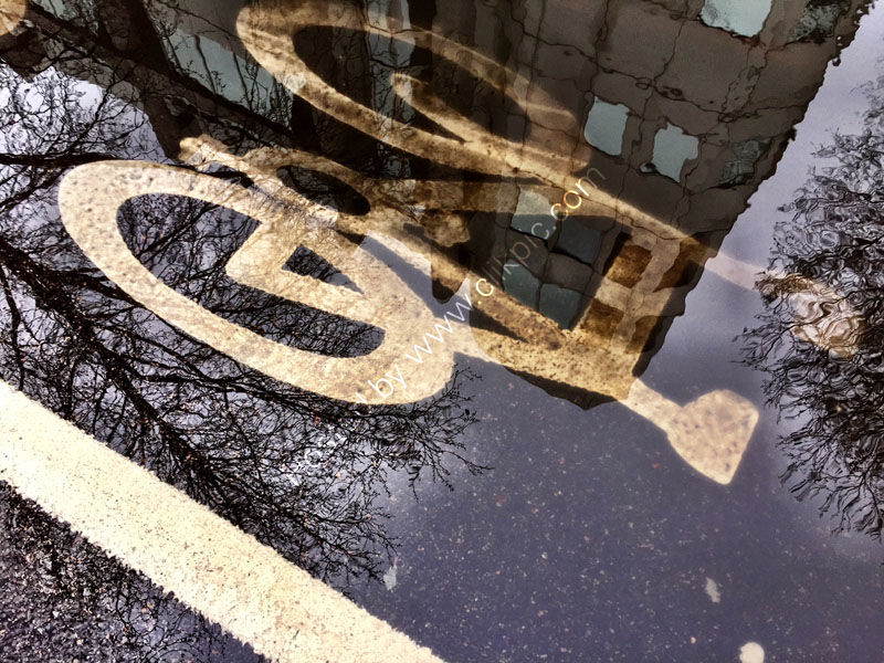 Bike in the puddle.