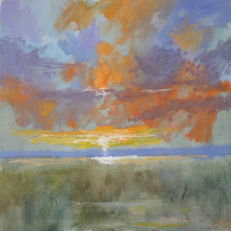 Sunset over estuary, 20 x 20""