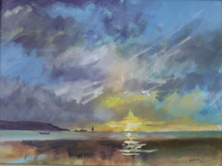 Sunrise over Shroove Lighthouse, Donegal 12 x 16""