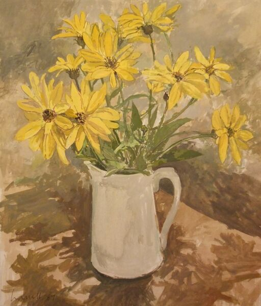 Yellow flowers in a white jug