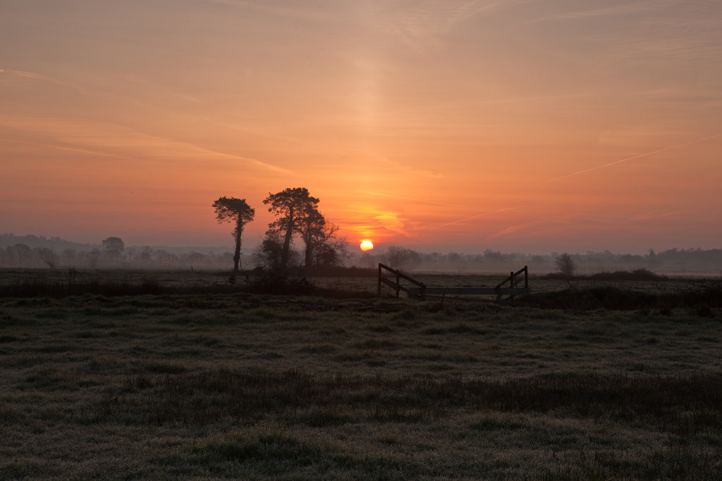 Sunrise on the Somerset levels