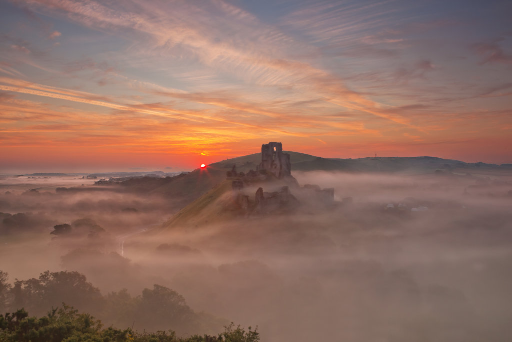 Corfe Castle Sunrise through mist