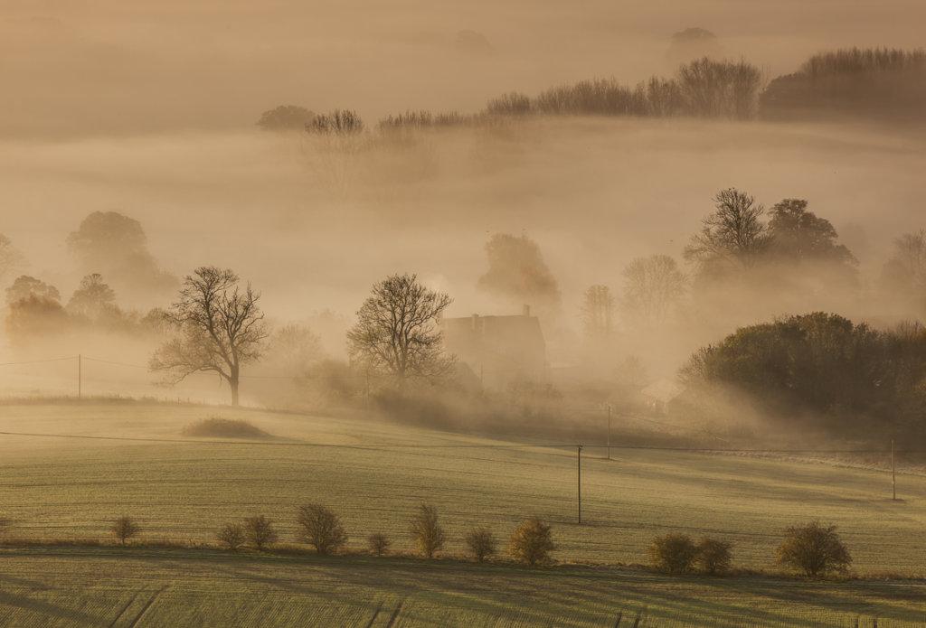 West Wick Farm in mist