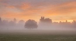 Magdalen College Oxford in mist