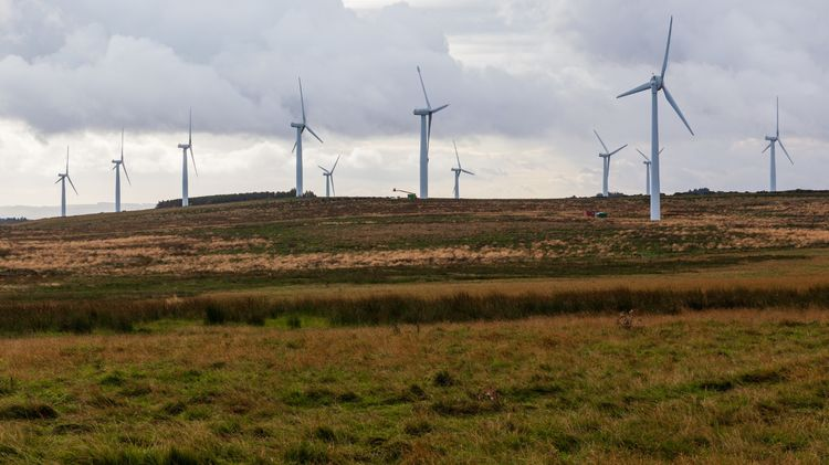 Wind Turbines in rural countryside on the Scottish Borders September 2019