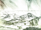 Rain over Win and Lose hills. Dry point