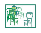 Six Green Chairs