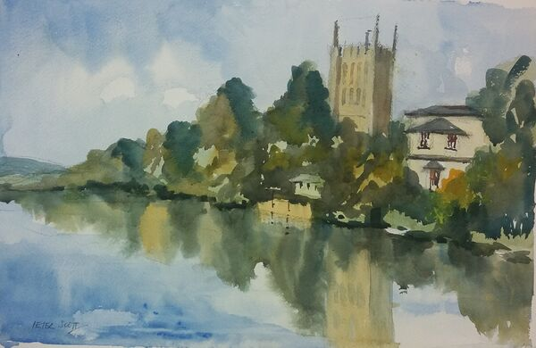 Hereford Cathedral from Victoria Bridge