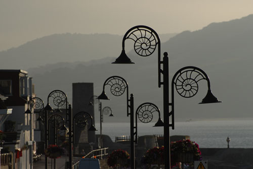 Ammonite style lights, Lyme Regis sea front