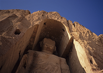 One of the great Buddhas at Bamyan, Afghanistan, since destroyed by the Taliban