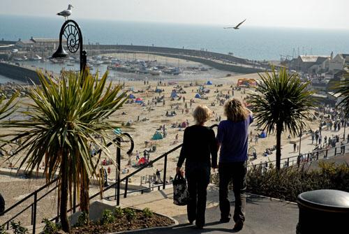 Gardens and beach, Lyme Regis
