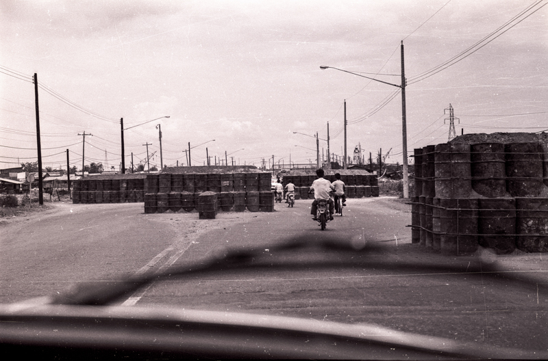 Road blocks on the bridge leading into Saigon