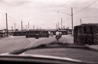 Road blocks on the bridge leading into Saigon