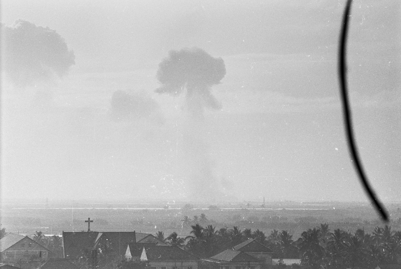 Distant explosions seen from Saigon