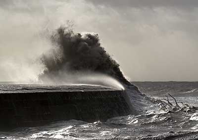 Stormy wave on The Cobb, Lyme Regis
