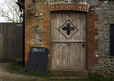 Organic doorway at Kingcombe in Dorset