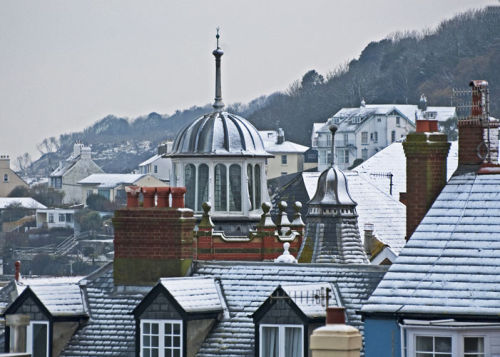Town Roofs in the Snow