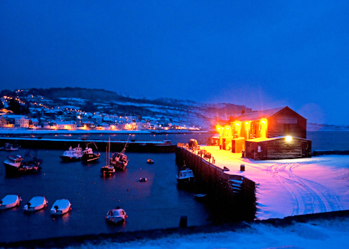 Harbour & Town in Snow