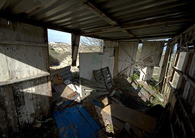 Wrecked hut on Portland, Dorset