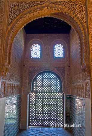 Backlit window, Nasrid Palace, The Alhambra, Granada, Spain