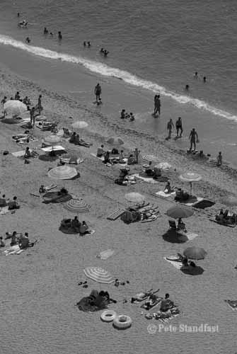 Beach life in mono, Nerja, Spain