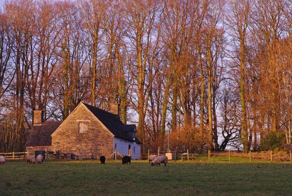 Cilewent Farmhouse in setting winter sunshine